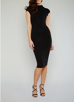Mockneck Cap Sleeve Bodycon Dress with Back Keyhole - 1096069392179