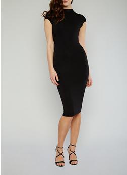 Mockneck Cap Sleeve Bodycon Dress with Back Keyhole - BLACK - 1096069392179