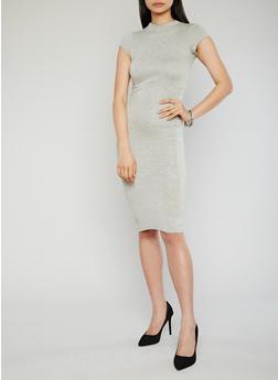 Mockneck Cap Sleeve Bodycon Dress with Back Keyhole - 1096069392179