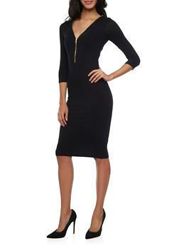 Mid Length Bodycon Dress with Zippered V Neck - BLACK - 1096069392491