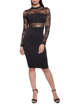 Lace Paneled Dress - BLACK - 1096069392613