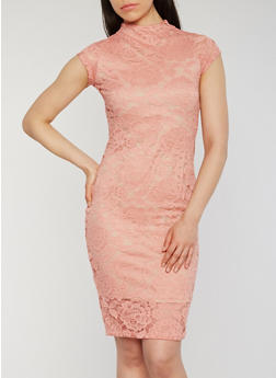 Floral Lace Mock Neck Bodycon Dress - 1096069392744