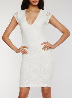 Lace V Neck Dress - OFF WHITE - 1096069392803