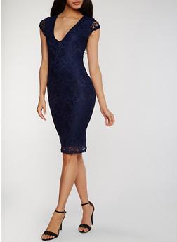 Lace V Neck Dress - 1096069392803