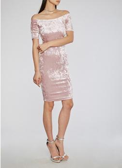 Off the Shoulder Crushed Velvet Midi Dress - MAUVE - 1096069392909