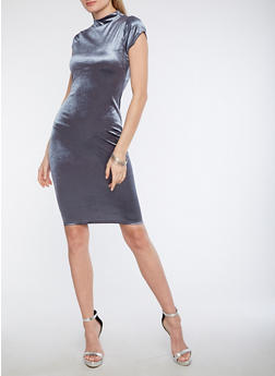 Velvet Funnel Neck Midi Dress - 1096069392923