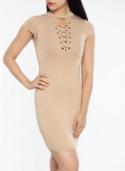 Soft Knit Lace Up Bodycon Dress - 1096069392984