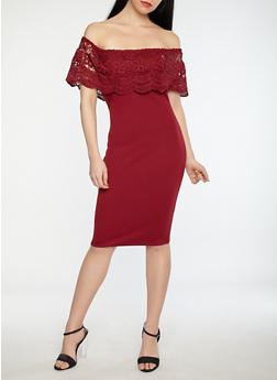 Crochet Overlay Off the Shoulder Dress - 1096069393660