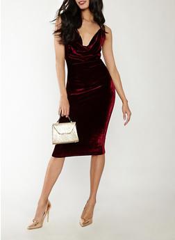 Velvet Drape Neck Bodycon Dress - 1096069393669