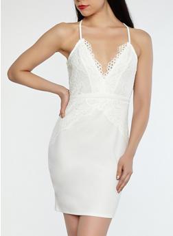 Zip Back Lace Bodycon Dress - 1096069393757