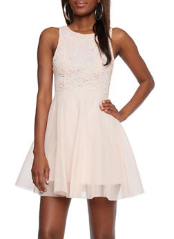 Skater Dress with Crochet and Net - 1096072811805