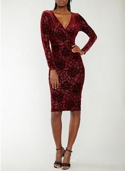 Mesh Velvet Burnout Faux Wrap Dress - 1096073007907