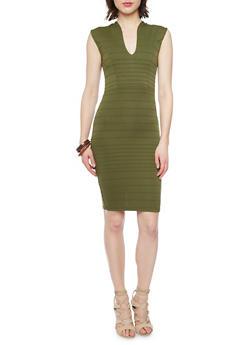 Soft Knit V Neck Bandage Dress - OLIVE - 1096073376907