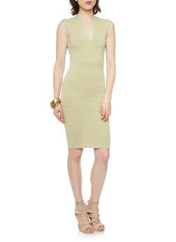 Soft Knit V Neck Bandage Dress - 1096073376907