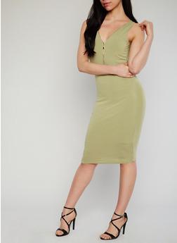Sleeveless Zip V Neck Midi Dress - 1096073376909
