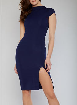 Funnel Neck Textured Knit Bodycon Dress with Front Slit - 1096073376929