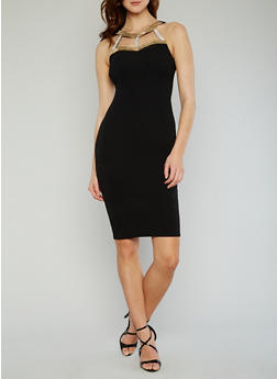 Solid Bodycon Dress with Studded Caged Halter Neck - 1096073376931
