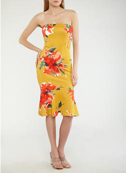 Floral Tube Dress with Ruffled Hem - 1096074011036