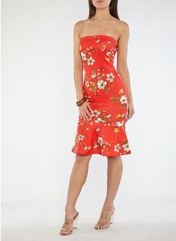 Floral Flounce Hem Dress - 1096074011037