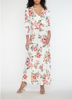 Floral Faux Wrap Front Maxi Dress - 1096074012010