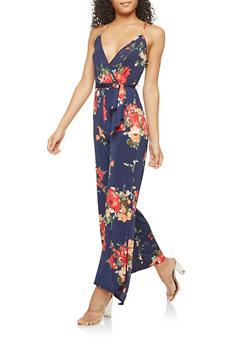 Faux Wrap Floral Print Jumpsuit - 1096074012018