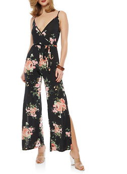 Floral Slit Wide Leg Jumpsuit - 1096074012019