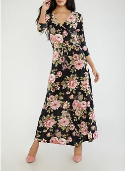 Floral Faux Wrap Maxi Dress - 1096074012020