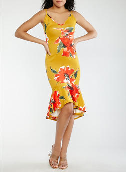 Floral High Low Ruffle Dress - 1096074012028