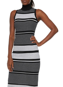 Striped Sleeveless Top with Mockneck - 1097038346454
