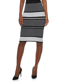 Pencil Skirt with Varied Stripes - 1097038347454