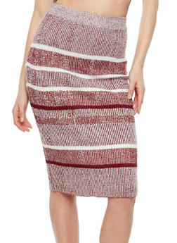 Striped Rib Knit Pencil Skirt - 1097038348481