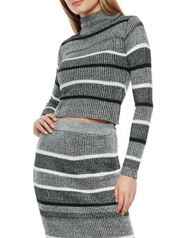Striped Rib Knit Sweater - 1097038349481