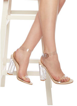 Open Toe Clear High Heel Sandals - 1106014064975
