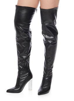 Over The Knee Boots with Translucent Heel - BLACK LYCRA - 1106067242270