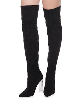 Over The Knee Boots with Translucent Heel - BLACK SUEDE - 1106067242270