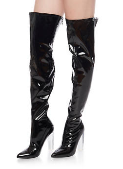 Over The Knee Boots with Translucent Heel - 1106067242270