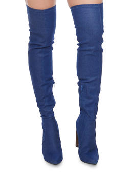Over The Knee Pointed  High Heel Boots - BLUE DENIM - 1106067242271