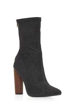 High Heel Stretch Denim Booties - BLACK DENIM - 1106067242272