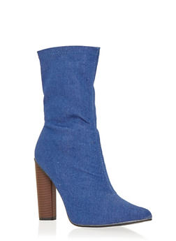 High Heel Stretch Denim Booties - BLUE DENIM - 1106067242272