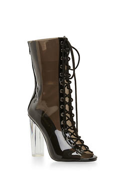 Translucent Lace Up Peep Toe Bootie - 1106067242275