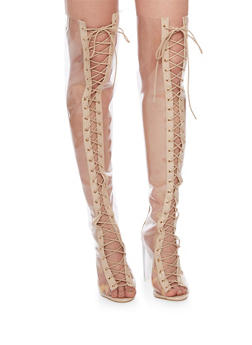 Lace Up Open Toe Over The Knee Boots - 1106067242276