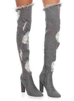 Ripped Thigh High Denim Boots - 1106067245467