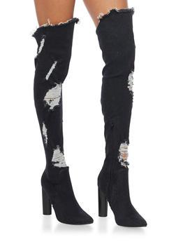 Ripped Thigh High Denim Boots - BLACK DENIM - 1106067245467
