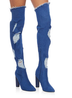 Ripped Thigh High Denim Boots - BLUE DENIM - 1106067245467
