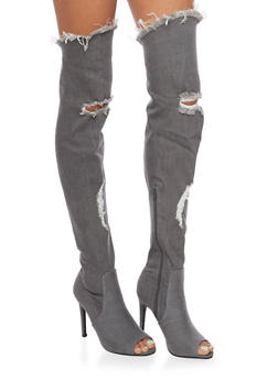 Distressed Thigh High Peep Toe Denim Boots - GRAY - 1106067245468