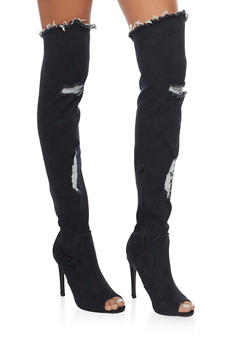 Distressed Thigh High Peep Toe Denim Boots - 1106067245468