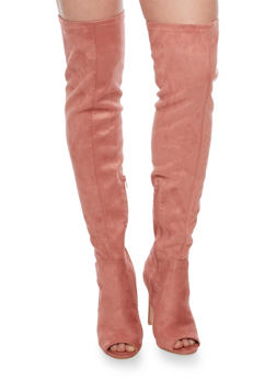 Thigh High Faux Suede Stiletto Boots with Open Toe - RUST PINK - 1106067249463