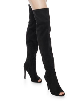 Thigh High Faux Suede Stiletto Boots with Open Toe - BLACK F/S - 1106067249463