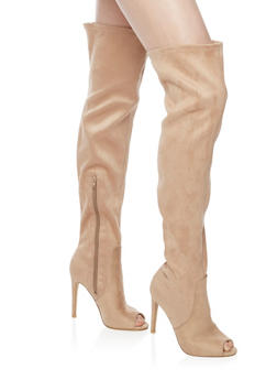 Thigh High Faux Suede Stiletto Boots with Open Toe - NUDE - 1106067249463