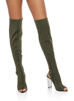 Over the Knee Peep Toe Boot with Lucite Heel - 1106070402532